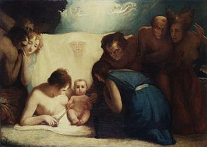 Bardolatry - George Romney's The infant Shakespeare attended by Nature and the Passions, c. 1791–1792, representing the Romantic idea of Shakespeare's natural genius