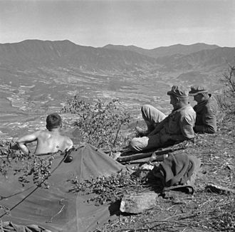 Haean - United States Marines on a ridge overlooking the Haean Basin during the Battle of the Punchbowl