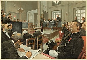 Trial and conviction of Alfred Dreyfus - Vanity Fair winter supplement (23 November 1899); Caricature of the trial of Dreyfus. Albert Jouaust, Capt Dreyfus, MM Labori and Demange, Gens Billot, Mercier, Zurlinden, Roget, Gonse and Boisdeffre, Col Picquart, MM Hanotaux and Cavaignac, and others.