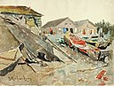 Theodore J. Richardson - Drying Blankets over Canoes - 1985.66.326,789 - Smithsonian American Art Museum.jpg