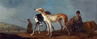 Peter Tillemans - Three Hounds with Horsemen, a Hunt to the Left