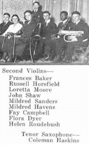 "Coleman Hawkins (incorrectly spelled ""Haskins"" in the caption) pictured in the Topeka High School orchestra, from the 1921 yearbook."