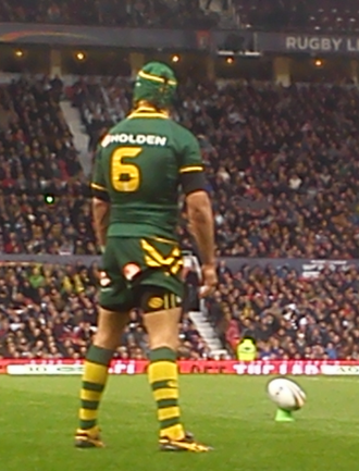 Place kick - Johnathan Thurston preparing to take a place kick for Australia at the 2013 Rugby League World Cup.