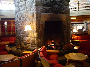 Main lobby of Timberline Lodge. The stone fire...