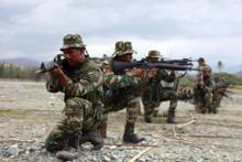 Timor-Leste Defense Forces soldaten in militaire training