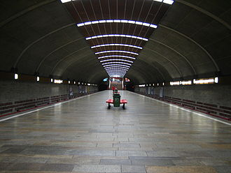 Single-vault station - Titan metro station, Bucharest Metro