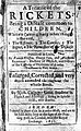 """Title-page of F. Glisson, """"A treatise of the rickets' Wellcome L0013830.jpg"""