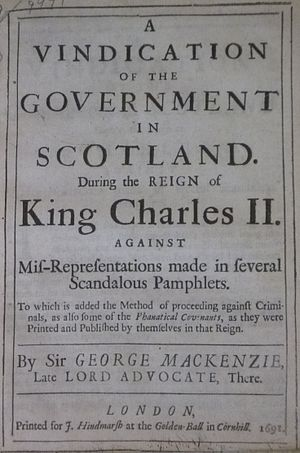 George Mackenzie of Rosehaugh - Title page of Mackenzie's 'Vindication', published in 1691