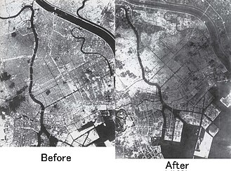 Bombing of Tokyo - A bird's-eye view of Tokyo before and after the air raids