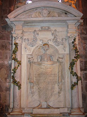 Memento mori - Unshrouded skeleton on Diana Warburton's tomb (dated 1693) in St John the Baptist Church, Chester
