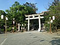 Torii in front of Romon Gate of Kashii Shrine.jpg