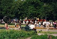 Toruń - Copernicus monument with Konstal 803N tram, August 1990 (3775351078).jpg