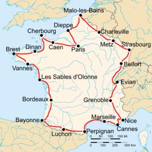 1929 Tour de France - Route of the 1929 Tour de France Followed counterclockwise, starting in Paris