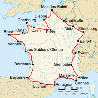 1929 Tour de France - Route of the 1929 Tour de France Followed counterclockwise, starting in Paris