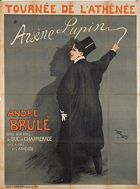 Affiche d'Henri-Edmond Rudaux pour la pièce interprétée par André Brulé au théâtre de l'Athénée, 1909.