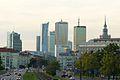 Towers of Warsaw from Niepodleglosci street.JPG