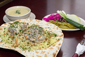 Mansaf - Image: Traditional Mansaf served on flatbread