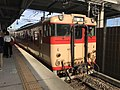 Train of Sasaguri Line at Chojabaru Station.jpg