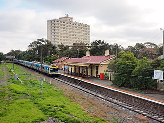 Williamstown railway line - A train pulling into Williamstown station in 2014