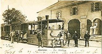 Trams in Geneva - A steam tram in Corsier, ca. 1900.