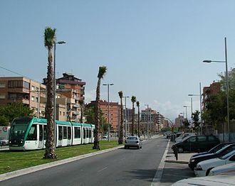 Transport in Badalona - A Trambesòs train at Avinguda del Marquès de Mont-roig.