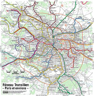 Transilien - Map detail of the Paris region