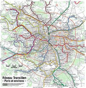 Transilien - Map detail of the Paris region