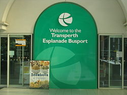 "Station entrance with sign ""Welcome to the Transperth Esplanade Busport"""