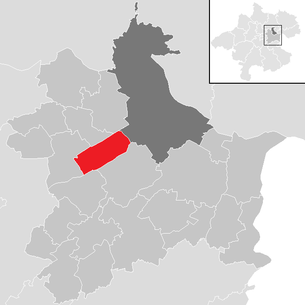 Location of the municipality of Traun (city) in the Linz-Land district (clickable map)