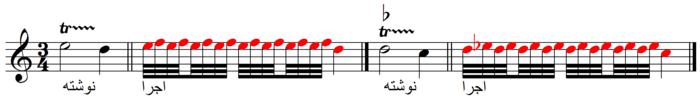 دو نمونه از اجرای نت نوشته شده و طرز اجرای تریل