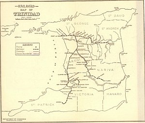 Transport in Trinidad and Tobago - Rail map as of 1925
