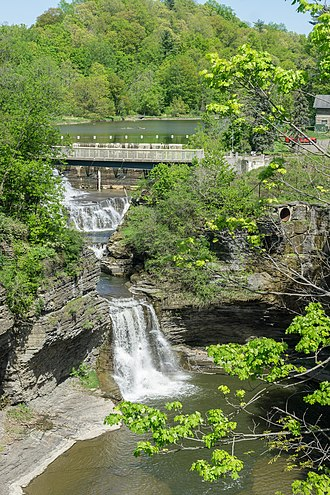 Cornell University - Triphammer Falls, Triphammer Footbridge, and Beebe Dam as viewed from the Thurston Avenue Bridge