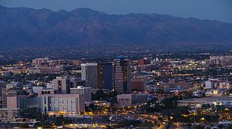Downtown Tucson with the University of Arizona in the background Tucson shab1.JPG