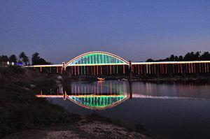 Thirthahalli - Tunga Bridge with Lightings during Theppotsava