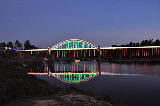 Thirthahalli - Tunga Bridge with Lightings during Theppotsava