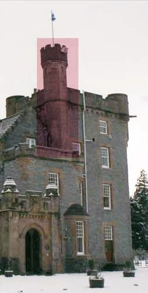 Turret - Turret (highlighted) attached to a tower on a baronial building in Scotland