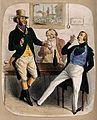 Two huntsmen and a dandy smoking and drinking round a table. Wellcome V0019565.jpg
