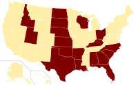 Type II constitutional ban on same-sex unions US.svg