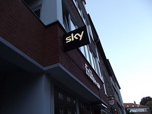 Sky Deutschland - Typical illuminated Sky sign showing that a pub offers SKY TV