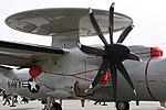U.S.NAVY E-2D Advanced Hawkeye(168991) of VAW-125 T56-A-427A turboshaft engine right front view at MCAS Iwakuni May 5, 2018 02.jpg