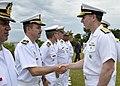 U.S. Navy Chief of Naval Operations Adm. Jonathan W. Greenert, right, greets Brazilian sailors during a visit to the marine amphibious division headquarters near Rio de Janeiro, Brazil 130116-N-ZI511-367.jpg