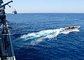 U.S. Sailors assigned to the guided missile destroyer USS Ramage (DDG 61) conduct a passenger transfer in a rigid-hull inflatable boat in the Mediterranean Sea March 20, 2014 140320-N-CH661-064.jpg
