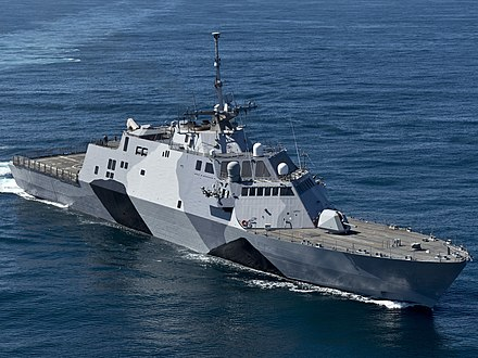 USS Freedom (LCS-1) underway in special naval camouflage USS-Freedom-130222-N-DR144-174-crop.jpg