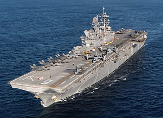 The amphibious assault ship USS America, launched in 2012. USS America (LHA-6) F-35B loaded.jpg