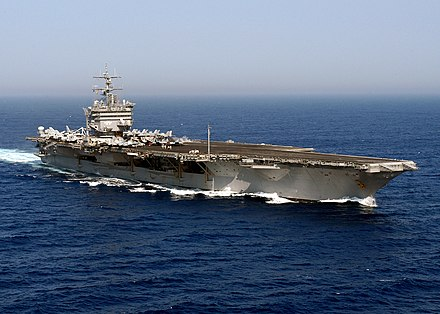 "USS Enterprise (CVN-65), ""The Big E"", the world's first nuclear-powered carrier, commissioned in 1961 USS Enterprise (CVN-65) underway in the Atlantic Ocean on 14 June 2004 (040614-N-0119G-020).jpg"