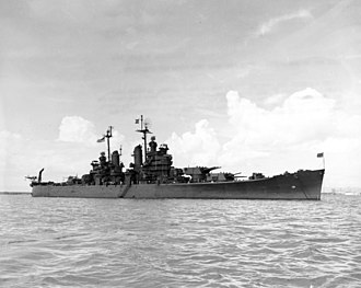 USS Fall River (CA-131) - Image: USS Fall River (CA 131) at anchor on 12 August 1945