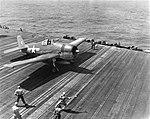 USS Lexington (CV-16) launching a Grumman F6F Hellcat, circa 12 October 1944 (80-G-285037).jpg