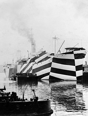 Ship camouflage - USS ''West Mahomet'' in First World War dazzle camouflage