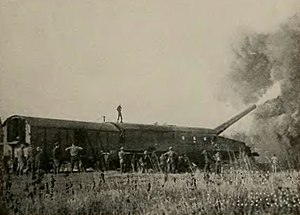 "14""/50 caliber railway gun - Firing from Thierville-sur-Meuse, NW of Verdun"