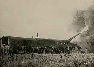 """14""""/50 caliber railway gun - Firing from Thierville-sur-Meuse, NW of Verdun"""